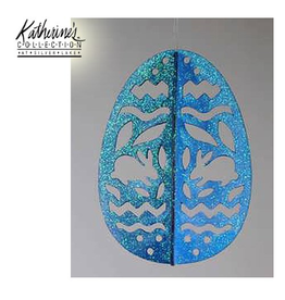 Katherine's Collection Easter Egg Ornament Glittered Laser Cut Blue