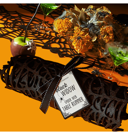 Twos Company Halloween Table Runner 47 Inch Black Widow Spider Web