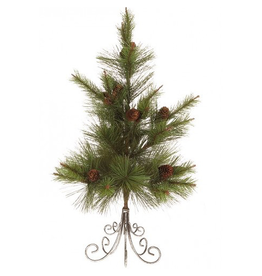 Mini Pine Tree w Cones 24 inch