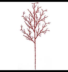 Kurt Adler Chirstmas Flowers Floral Large Red Glittered Twig Spray 29L
