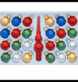 Kurt Adler Multi-Color Mini Tree Ornaments w Tree Topper 25pc Set