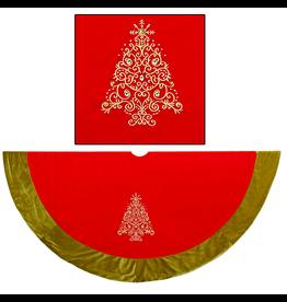 Kurt Adler Christmas Tree Skirt Red w Green Border w Embroidery Christmas Tree 56D