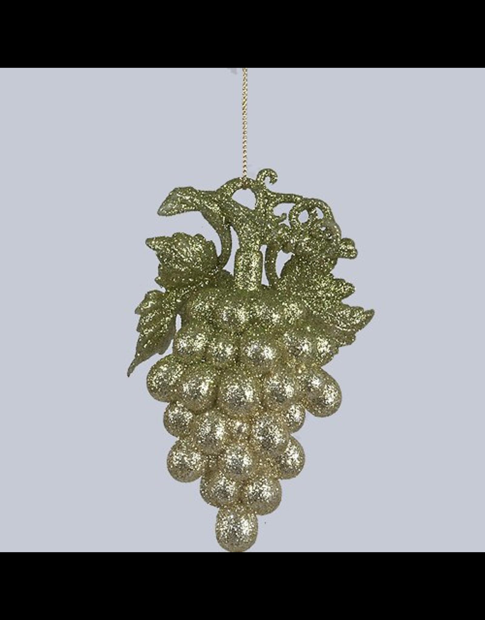 Kurt Adler Acrylic Green Clittered Grapes Ornament 5 Inch