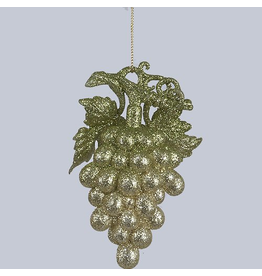 Kurt Adler Acrylic Green Clittered Grapes Ornament 5 Inch