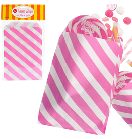 Party Favor Bags 12Pk Pink Diagonal Stripes by Party Partners