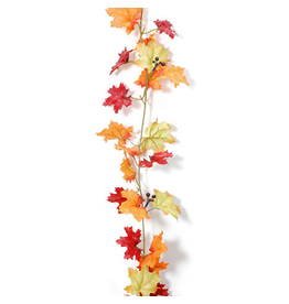 Darice Fall Leaf Garland Maple Leaves w Berries 9 feet Floral Decor