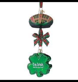 Kurt Adler Irish Paddy Cap n Shamrock Ornament w Sentiment - Super Power