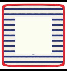 Caspari Square Paper Dinner Plates 8pk Bretagne Blue