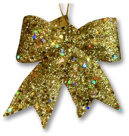 Gold Glitter Bow Ornament-Gift Tie