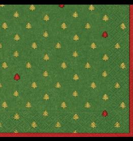 Caspari Paper Lunch Napkins Tiny Trees Green
