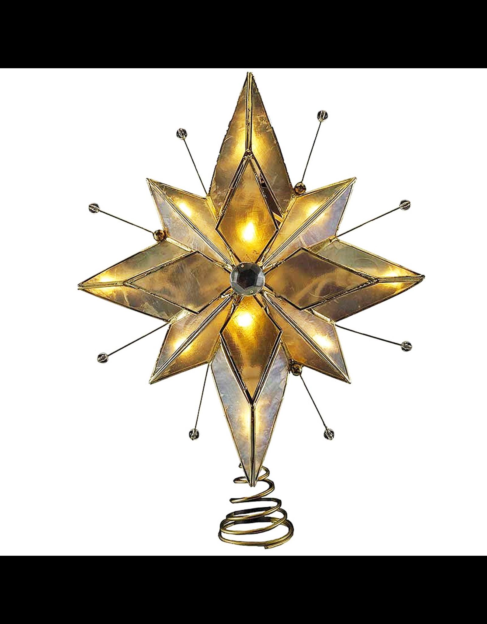 Kurt Adler Bethlehem Star Tree Topper 10 Light Capiz 9 inch