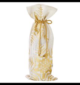 Twos Company Jute w Gold Foil Snowflakes Wine Bottle Gift Bag