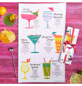 Twos Company Happy Hour Cocktails Dish Towel w Bar Spoon Gift Set