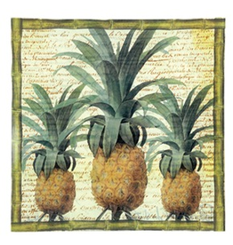 Paolo Crisante Decoupage Art Glass PCT-6032 Pineapple Plate 11.75sq