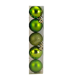 Kurt Adler Christmas Shatterproof Ball Ornament 60MM Set of 5 Green