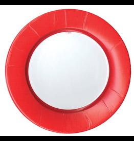 Caspari Paper Dinner Plates Round Linen Border In Red