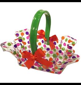 Lily Ruffled Rectangle Flat Handle Basket w Ribbon Medium