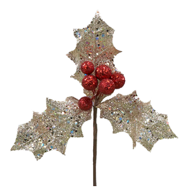 Kurt Adler Holly Berry Cluster PIck Silver Leaf Christmas Flowers Florals