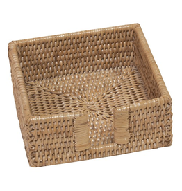 Caspari Rattan White Cocktail Napkin Holder