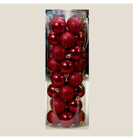 Kurt Adler Red Shatterproof Ball Ornaments Shiny and Glittered Set of 32