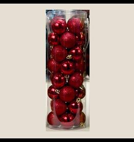 Kurt Adler Red Shatterproof Ball Ornaments Shiny and Glittered Set of 32
