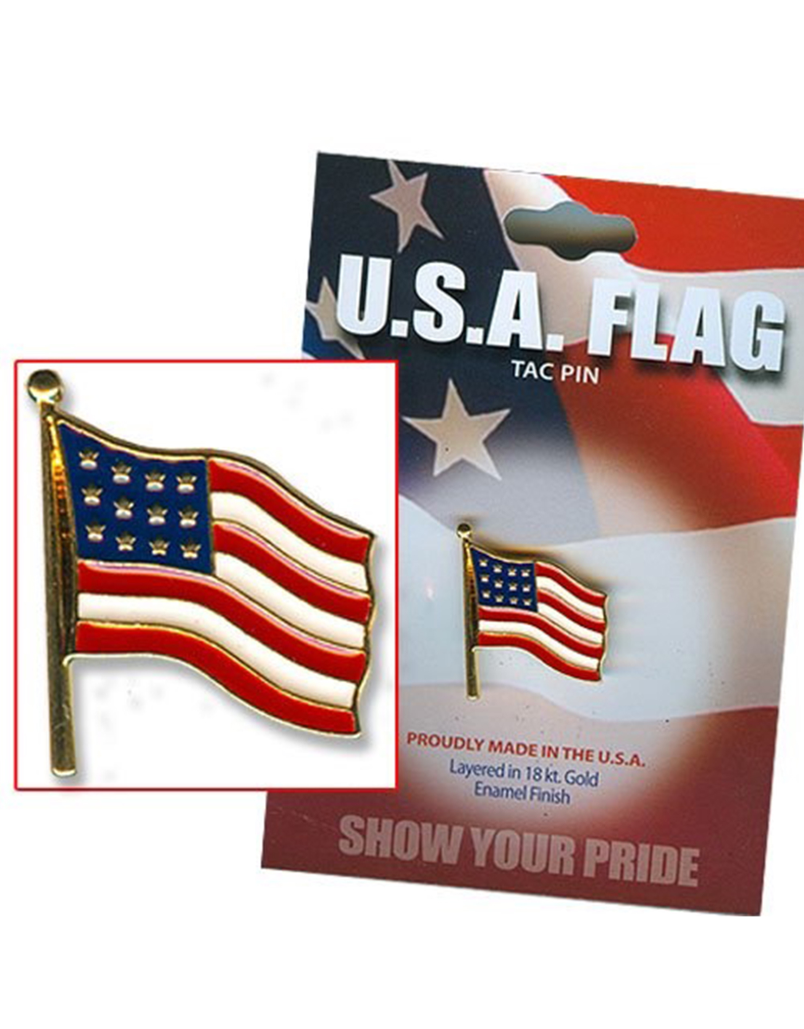 DM Merchandising U.S.A. Flag Tack Pin Made in the USA layered in 18K Enamel Finish