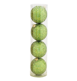 Kurt Adler Shatterproof Ball Ornaments Green Glittered 80MM Set of 4