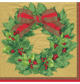Caspari Paper Cocktail Napkins 12071C Holly Wreath Gold 20pk