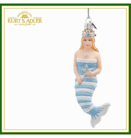 Kurt Adler Glass Mermaid Ornament L Blue -A
