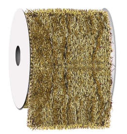 Ribbons Trims Gold Tinsel Town Ribbon w Fabric Back Wired
