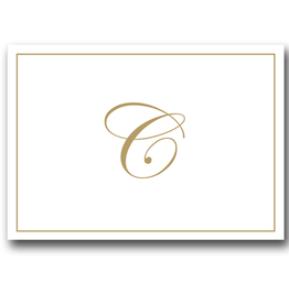 Caspari Gold Embossed Initial Note Cards Letter C Boxed Set of 8
