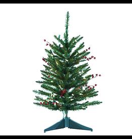 Kurt Adler Christmas Tree Mini Pre-Lit 24 Inch Mixed Berries Pinecone