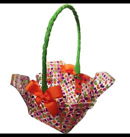 Lily Ruffled Square Cord Handle Basket w Ribbon XL