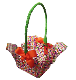 Ruffled Square Cord Handle Basket w Ribbon XL