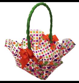 Lily Ruffled Square Cord Handle Basket w Ribbon Petite