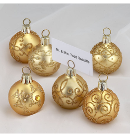 Kurt Adler Christmas Place Card Holders Gold Ball Ornaments Set of 6