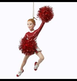 Kurt Adler Cheerleader w Pom Poms Christmas Ornament - Red