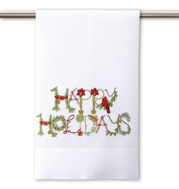 Peking Handicraft Christmas Hand-Guest Towel Happy Holidays 14x22