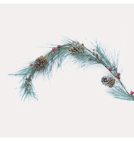 Kurt Adler Christmas Garland Frosted Pinecone Garland with Berries