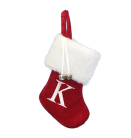 Kurt Adler Mini Red Monogrammed Christmas Stocking Initial Letter K