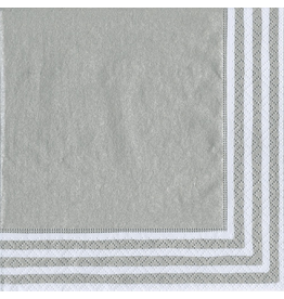 Caspari Paper Lunch Napkins 9009L Stripe Border Silver 20pk