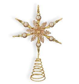 Kurt Adler Gold Snowflake Christmas Star Tree Topper 14 inch