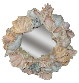 Decorative Treasures Sculpted Shells Round Mirror 27 Diameter