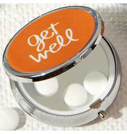 Twos Company Pill Box W Mirror Orange W Sentiment Get Well