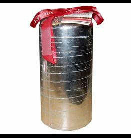 Silver 3x6 Pillar Candle w Glitter Stripe