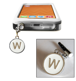 TECH Candy Phone Charms Earphone Jack Jewelry Letter W Silver White