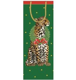 Caspari Christmas Wine Bottle Gift Bag Wild Christmas Leopard