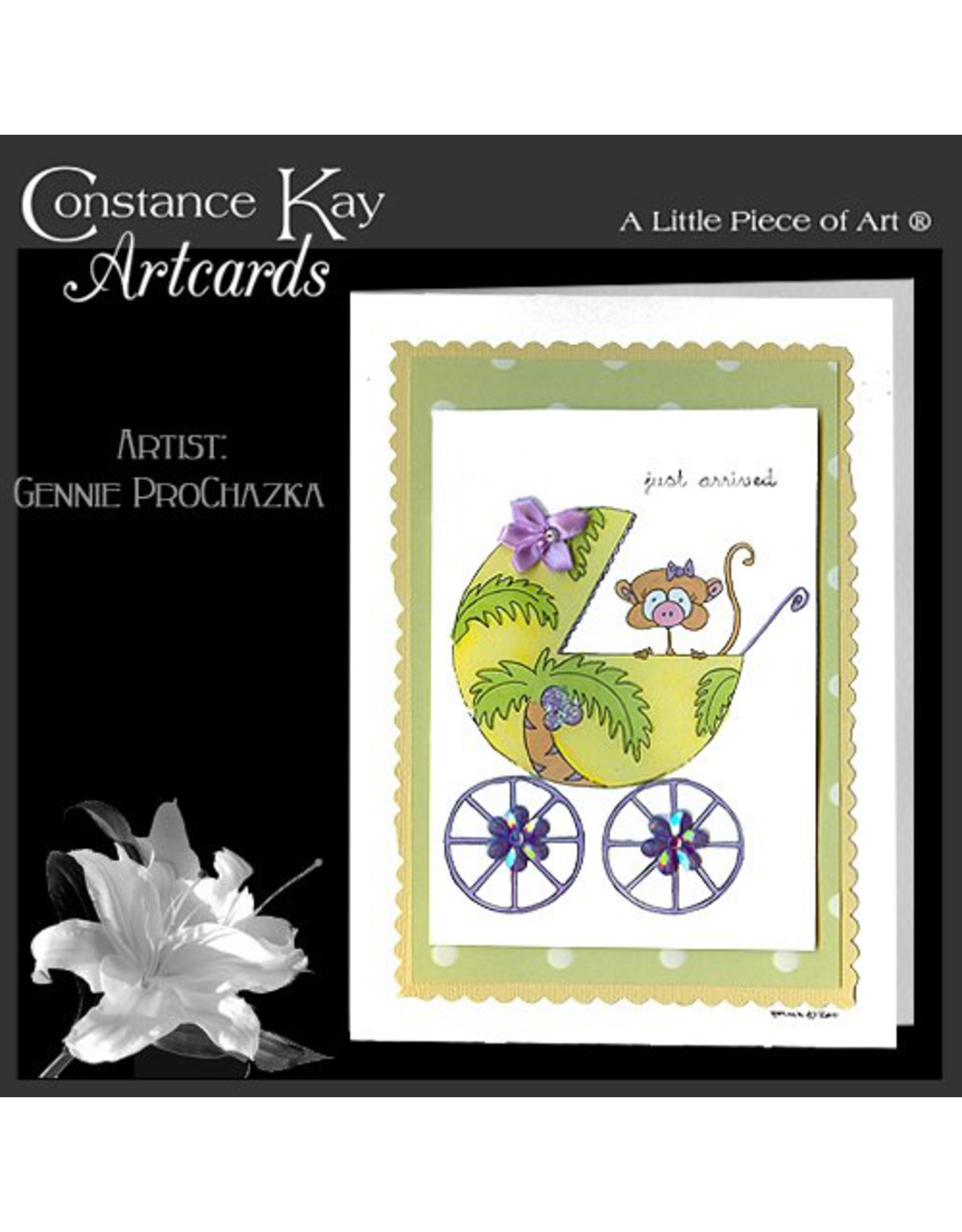 Constance Kay Art Card New Baby Just Arrived Monkey In Carriage