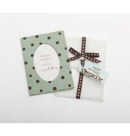 Photo Frame Greeting Card Happy Birthday Aqua Chocolate Dot