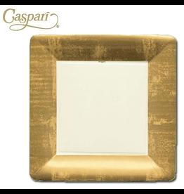 Caspari Paper Dinner Plates 8pk Square Gold Leaf Ivory